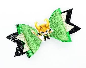 Loki Marvel Comics Avengers Inspired Glitter Hair Bow