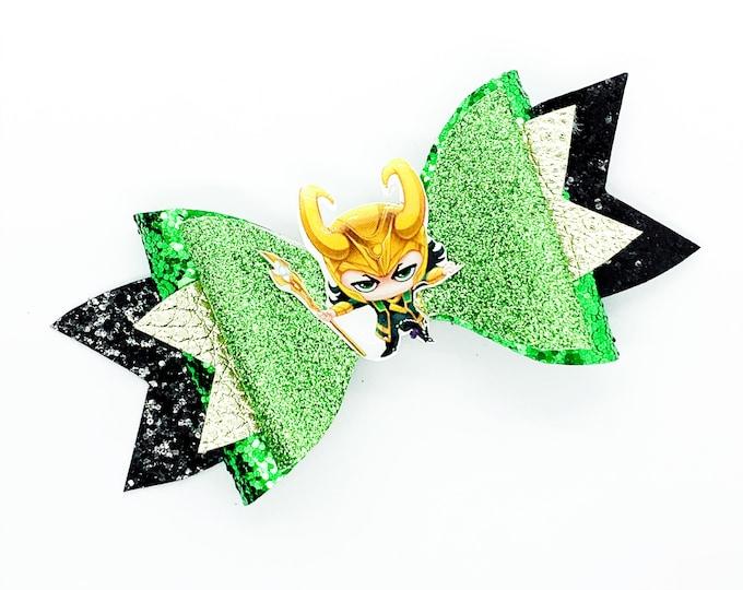 Loki Marvel Comics Avengers Inspired Green Chunky Glitter Hair Bow