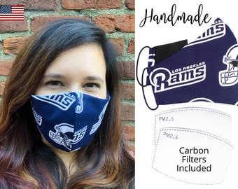 Los Angeles Rams Football Fitted Fabric Face Mask with elastic tie, for Adult Men Women and children, handmade with carbon filter pocket