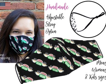 Central Perk Friends Fitted Fabric Face Mask with adjustable elastic tie, for Adult Men Women & children, handmade with carbon filter pocket
