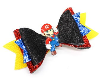 Super Mario Kart Brothers Inspired Gaming Glitter Hair Bow