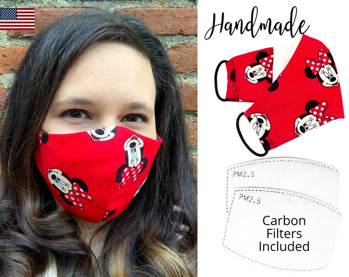 Minnie Mouse Cotton Fabric Face Mask with elastic tie, for Adult Men Women and children, handmade & washable, carbon filter pocket included
