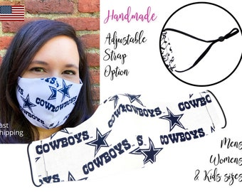 Dallas Cowboys Cotton Fabric Football Face Mask with adjustable elastic tie, for Adult Men Women and children, handmade with filter pocket