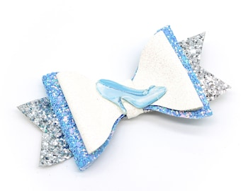 Cinderella Glass Slipeper Glitter Hair Bow