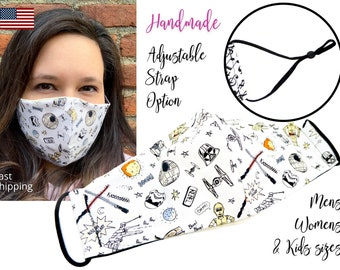 Star Wars Galaxy Fitted Fabric Face Mask with adjustable elastic tie, for Adult Men Women and children, handmade with carbon filter pocket