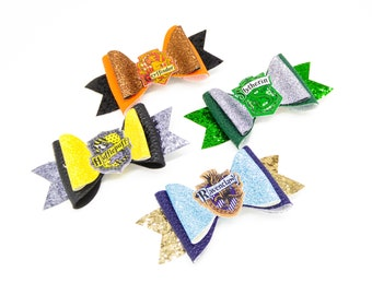 Set of Harry Potter House Chunky Glitter Hair Bows, Inspired Characters, Slytherin, Gryffindor, Ravenclaw, and Hufflepuff