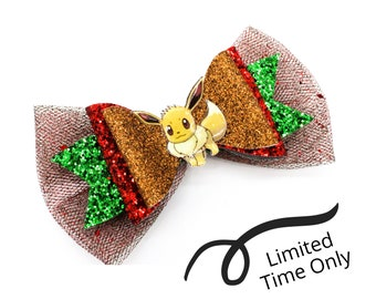 LIMITED TIME only! Christmas Eevee Pokemon Eeveelution Nintendo Trading Card Game Inspired Brown Chunky Glitter Leather and tulle Hair Bow