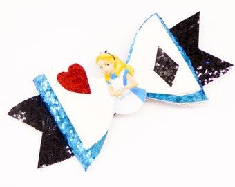 Alice in Wonderland Disney Inspired Blue Chunky Glitter Hair Bow