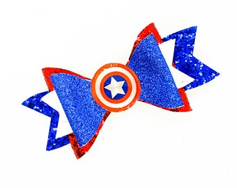 Captain America Marvel Comics Avengers Inspired Blue Chunky Glitter Hair Bow
