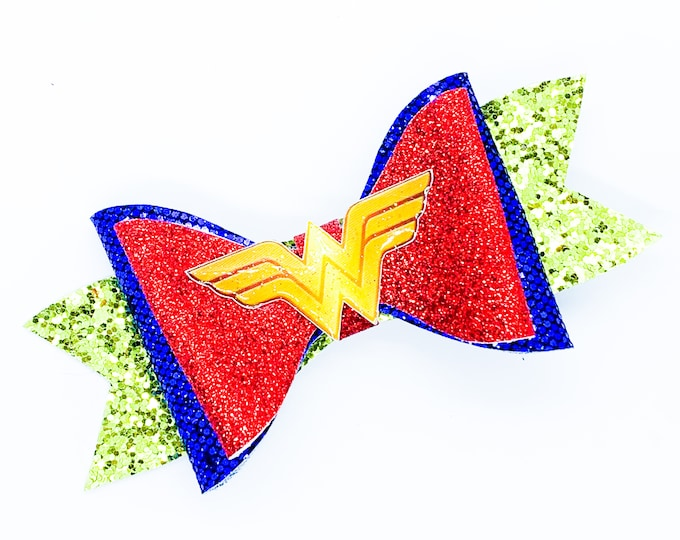 Wonder Woman DC Inspired Logo Chunky Glitter Hair Bow in Red and Blue
