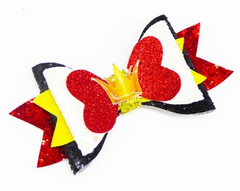 Queen of Hearts Inspired by Alice in Wonderland Red Chunky Glitter and Tulle Hair Bow