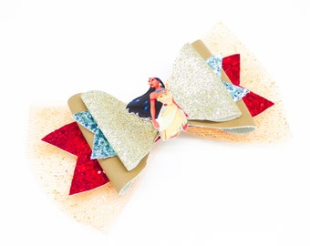 Pocahontas Glitter Leather Hair Bow