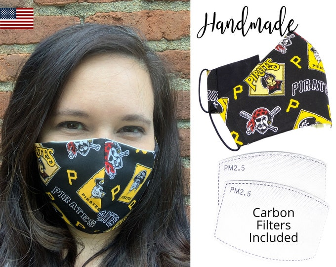 Pittsburgh Pirates Cotton Fabric Face Mask with elastic tie, for Adult Men Women and children, handmade and washable, carbon filter pocket