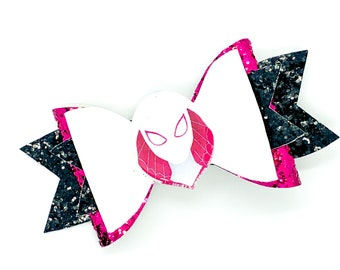 Spider Gwen Marvel Comics Avengers Spiderman Inspired Glitter Hair Bow