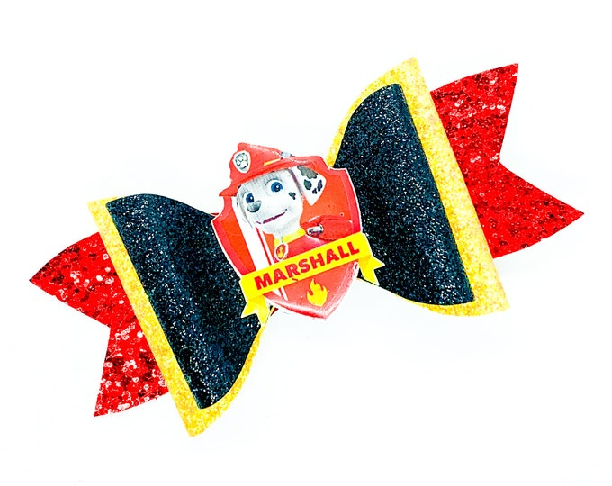 Marshall Paw Patrol Nick Junior Inspired Red and Black Chunky Glitter Hair Bow