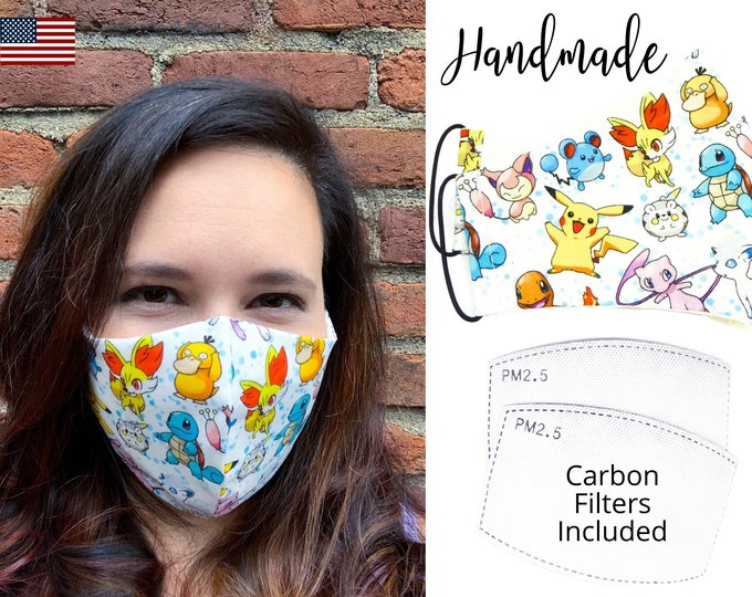 Pokemon Pocket Monster Cotton Fabric Face Mask with adjustable elastic tie, for Adult Men Women & children, handmade carbon filter pocket