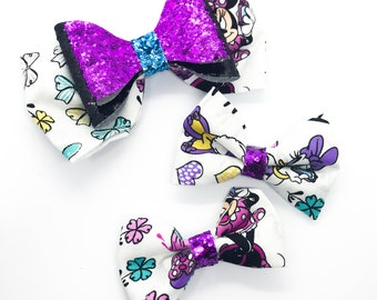 Minnie Mouse Cotton Disney Inspired Cotton Fabric Glitter Hair Fabric Bow Set