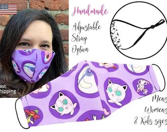 Purple Pokemon Jigglypuff Cotton Fabric Face Mask with adjustable elastic tie, for Adult Men Women & children, handmade carbon filter pocket