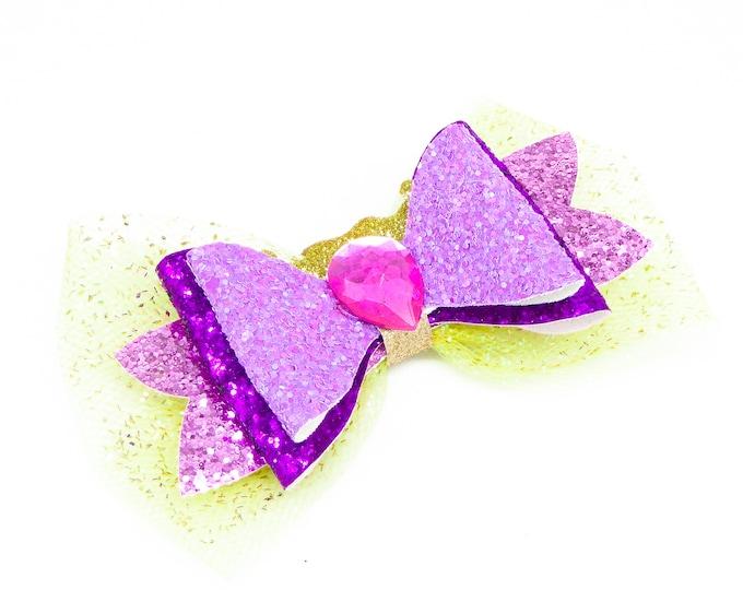 Rapunzel Glitter Hair Bow
