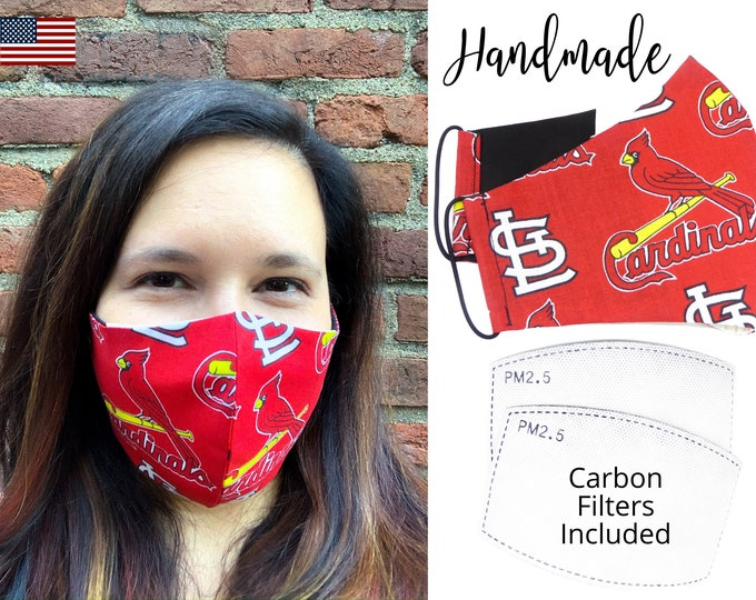 St. Louis Cardinals Baseball Cotton Fabric Face Mask & elastic tie, for Adult Men Women and children, handmade with carbon filter pocket