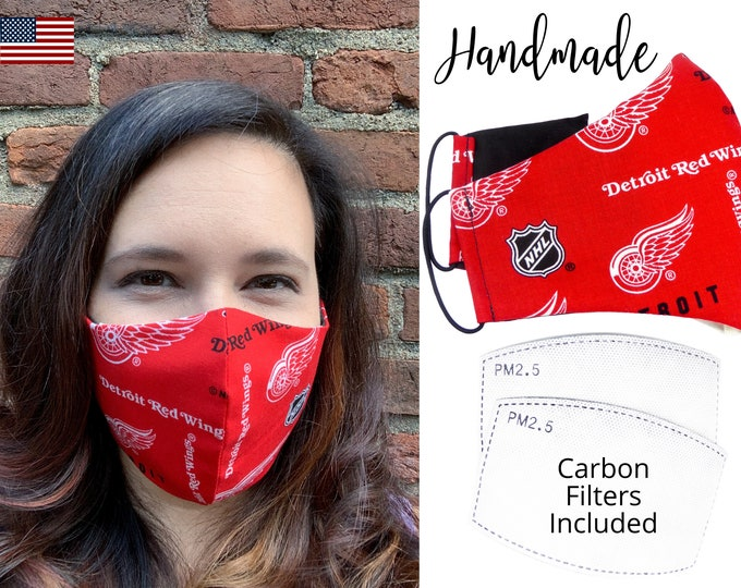 Detroit Red Wings Cotton Fabric Hockey Face Mask with elastic tie, for Adult Men Women and children, handmade with carbon filter pocket
