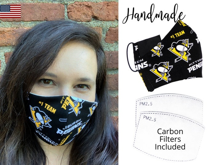 Pittsburgh Penguins Cotton Fabric Face Mask with elastic tie, for Adult Men Women and children, handmade and washable, carbon filter pocket