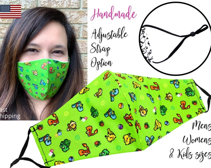 Featured listing image: Green Pixel Pokemon Fitted Fabric Face Mask with adjustable elastic tie, for Adult Men Women & children, handmade carbon filter pocket