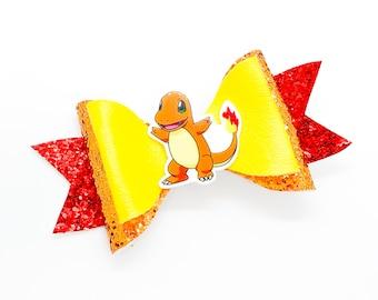 Charmander Pokemon Nintendo Trading Card Game Inspired Yellow Chunky Glitter Leather Hair Bow