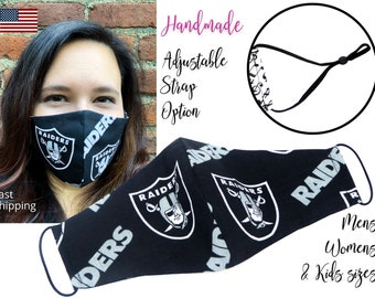 Las Vegas Raiders Football Fitted Fabric Face Mask with adjustable elastic tie, for Adult Men Women and children, handmade filter pocket