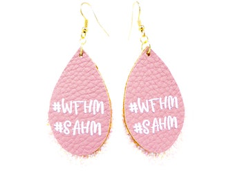 Stay at Home Mom Faux Glitter Leather Earrings, Work From Home