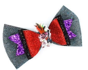 Queen Barb Trolls Disney Rock Tour Inspired Red Chunky Glitter and Tulle Hair Bow