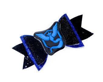 Team Mystic Pokemon Glitter Hair Bow