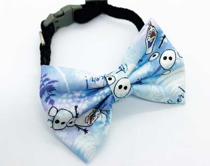 Frozen Olaf Fabric Dog and Puppy Bowtie and Bows Disney Inspired collar