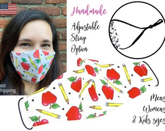 Back to School Apple Cotton Fabric Face Mask with adjustable elastic tie, for Adult Men Women & children, handmade with carbon filter pocket