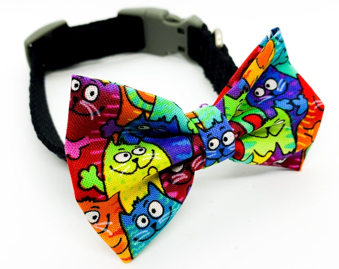 Colorful Cats Pattern Fabric Dog and Puppy Bowtie and Bows collar