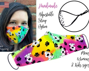 Rainbow Dog Bone Fitted Fabric Face Mask with adjustable ear straps, Adult Men Women and children sizes, handmade with carbon filter pocket