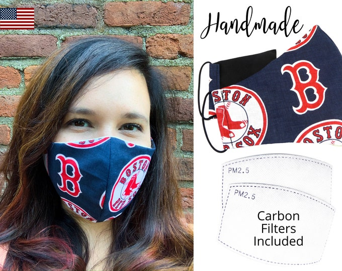 Boston Red Sox Baseball Cotton Fabric Face Mask adjustable elastic tie, for Adult Men Women & children, handmade with carbon filter pocket