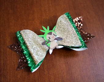 Chespin Pokemon Inspired Green Chunky Glitter Leather Hair Bow
