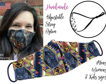 Black Panther Avengers Fitted Fabric Face Mask  adjustable elastic tie, for Adult Men Women & children, handmade with carbon filter pocket