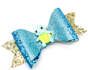 Squirtle Pokemon Glitter Hair Bow