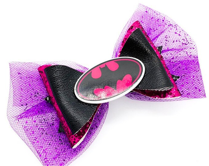 Pink Batman Batgirl DC Comics Justice League Inspired Chunky Glitter Hair Bow
