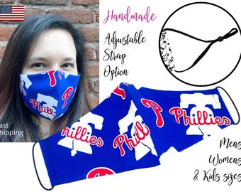 Philadelphia Phillies Baseball Fitted Fabric Face Mask adjustable elastic tie, for Adult Men Women & children, handmade with filter pocket