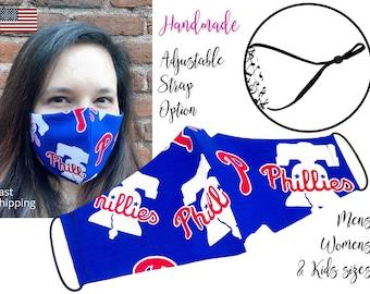 Philadelphia Phillies Baseball Cotton Fabric Face Mask adjustable elastic tie, for Adult Men Women & children, handmade with filter pocket