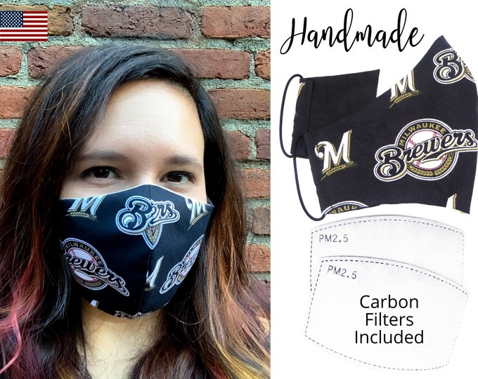 Milwaukee Brewers Cotton Fabric Face Mask with elastic tie, for Adult Men Women and children, handmade and washable, carbon filter pocket