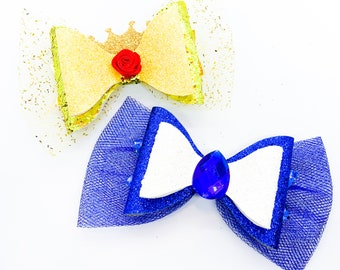 Beauty and the Beast Disney Inspired Princess Belle Blue Glitter Hair Bow Set