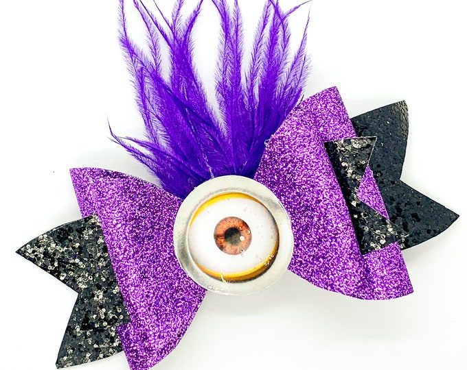 Evil Purple Minion Glitter Hair Bow