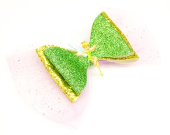 Tinkerbell Disney Inspired Peter Pan Green Chunky Glitter and Tulle Hair Bow