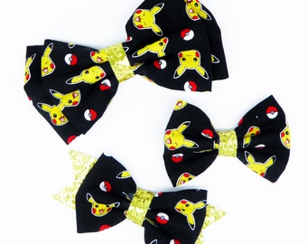 Pikachu Fabric Hair Bow Set