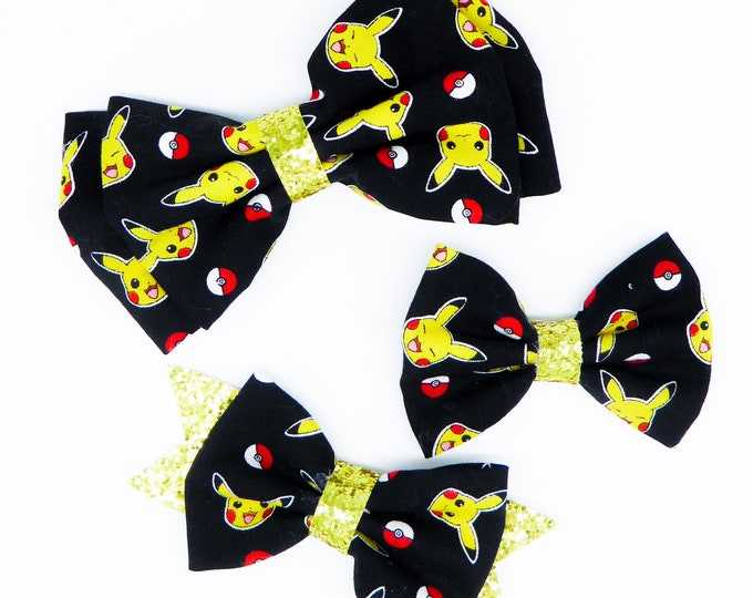 Pikachu Fabric Hair Bow Set