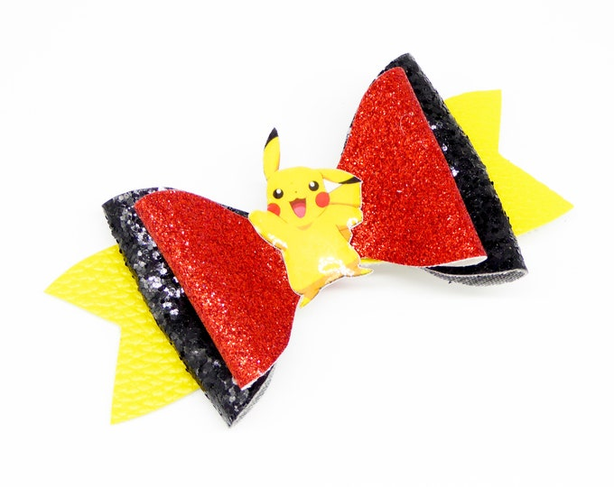 Pikachu Pokemon Glitter Hair Bow